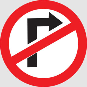 RIGHT TURN PROHIBITED
